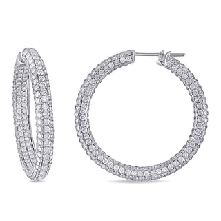 Miadora 18k White Gold 14 5/8ct TDW Pave Diamond Hoop Earrings (G-H, SI1-SI2)