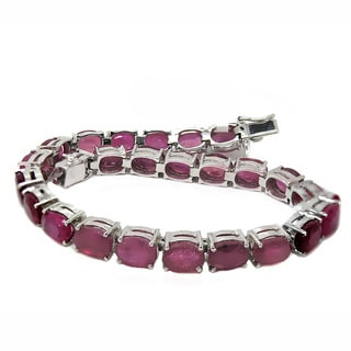 De Buman Sterling Silver Oval-cut Natural Ruby Bracelet