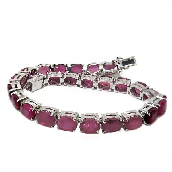 de buman sterling silver oval cut ruby bracelet