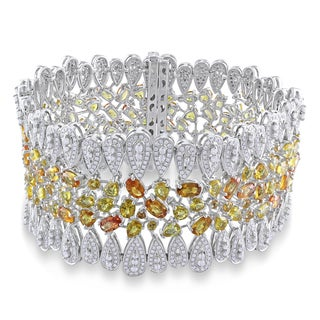 Miadora 14k Two-tone Gold Yellow Sapphire and 6 1/3ct TDW Diamond Bracelet (G-H, SI1-SI2)