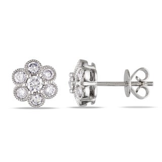Miadora 18k White Gold 3/4ct TDW Diamond Flower Earrings (G-H, SI1-SI2)