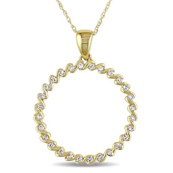 Miadora 10k Yellow Gold 1/6ct TDW Diamond Circle of Life Necklace