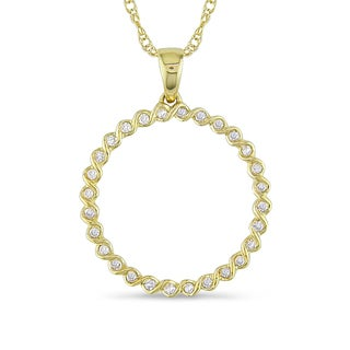 Miadora 10k Yellow Gold 1/6ct TDW Diamond Circle Necklace