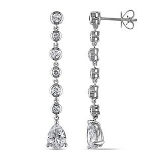 Miadora Signature Collection 14k White Gold 2 3/4ct TDW Certified Pear Cut Diamond Drop Earring (D-E, VS1-VS2) (GIA)