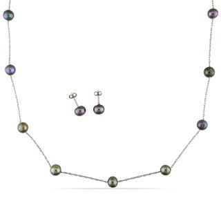 Miadora 10k White Gold Black Pearl Earrings and Necklace Set