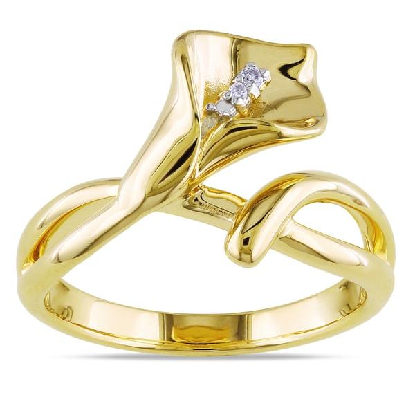 Miadora Yellowplated Silver Diamond Calla Lily Ring