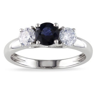 Miadora 14k White Gold Sapphire and 1/2ct TDW Diamond 3-stone Ring (G-H, I1-I2)