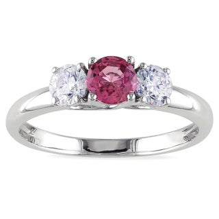 Miadora 14k White Gold Pink Sapphire and 1/2ct TDW Diamond Ring (G-H, I1-I2)