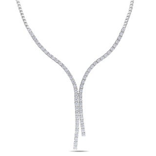 Miadora 14k White Gold 6 1/2ct TDW Diamond Lariat Necklace (G-H, SI1-SI2) with Bonus Earrings