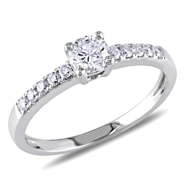 Miadora 14k White Gold 5/8ct TDW Diamond Engagement Ring (G-H, SI1-SI2)