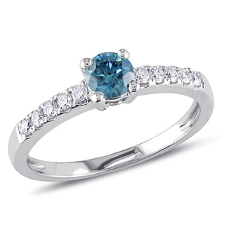 Miadora 14k White Gold 1/2ct TDW Blue and White Diamond Ring (I1-I2)