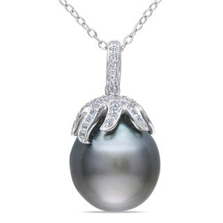Miadora Sterling Silver Tahitian Pearl and White Topaz Necklace (12-12.5 mm)