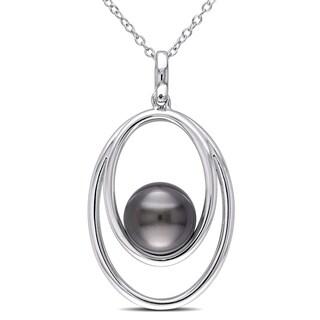 Miadora Sterling Silver Tahitian Black Pearl Necklace (9.5-10 mm)
