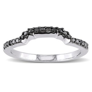 Miadora 10k White Gold Black Diamond Wedding Band