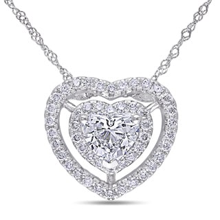 Miadora 14k White Gold 1ct TDW Diamond Heart Necklace (G-H, I1-I2)