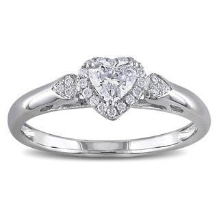 Miadora 14k White Gold 2/5ct TDW Diamond Heart Ring (G-H, I1-I2)