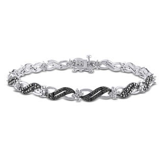 Haylee Jewels Sterling Silver 1/4ct TDW Black Diamond Infinity Bracelet