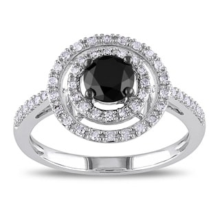 Miadora 10k White Gold 1ct TDW Black and White Diamond Halo Ring