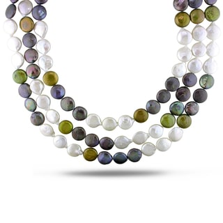 Miadora 14k Yellow Gold White, Black and Bronze Brown Pearl Necklace (11-13 mm)