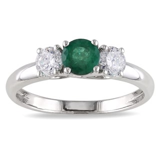 Miadora 14k White Gold Emerald and 1/2ct TDW Diamond 3-stone Ring (G-H, I1-I2)