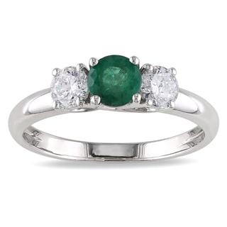 Miadora 14k White Gold Emerald and 1/2ct TDW Diamond 3-stone Ring (G-H, I1-I2)