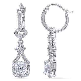 Miadora 14k Gold 1 7/8ct TDW Cushion Cut Diamond Vintage Earrings (G-H,