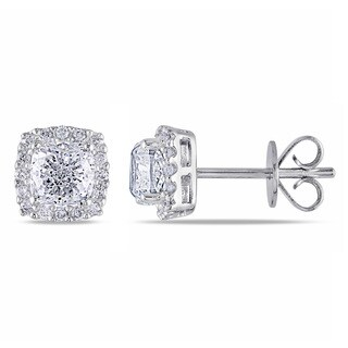 Miadora 14k White Gold 1 3/5ct TDW Cushion Cut Diamond Halo Stud Earrings (G-H, I1-I2)
