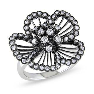 Miadora 14k Black Gold 4/5ct TDW Diamond Flower Ring
