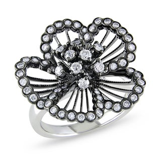 Miadora 14k Black Plated Gold 4/5ct TDW Diamond Flower Ring (G-H, SI1-SI2)