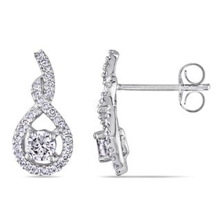 Miadora 14k White Gold White Sapphire and 1/6ct TDW Diamond Earrings (G-H, I1-I2)