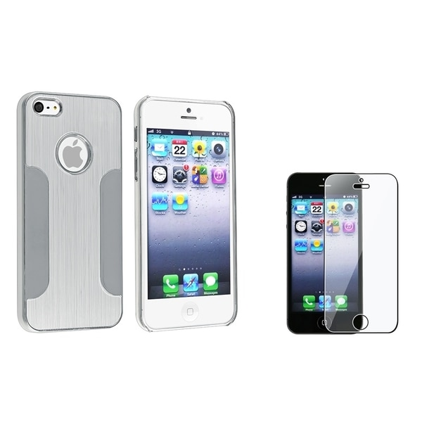 INSTEN Silver Chrome Phone Case Cover/ Screen Protector for Apple iPhone 5/ 5S