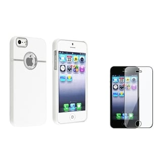 BasAcc White/ Chrome Case/ Screen Protector for Apple iPhone 5/ 5S