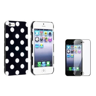 Insten Black/ White Dot Phone Case/ LCD Protector for Apple iPhone 5/ 5S