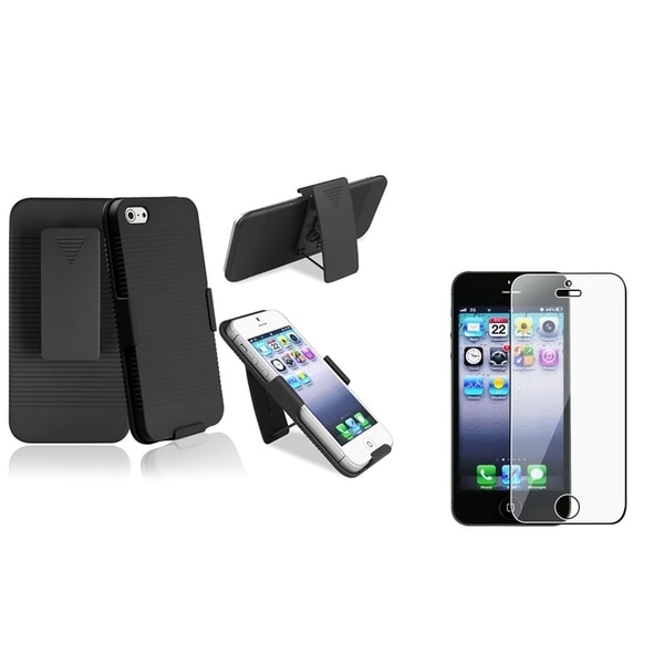 INSTEN Black Holster Phone Case Cover/ LCD Protector for Apple iPhone 5/ 5S