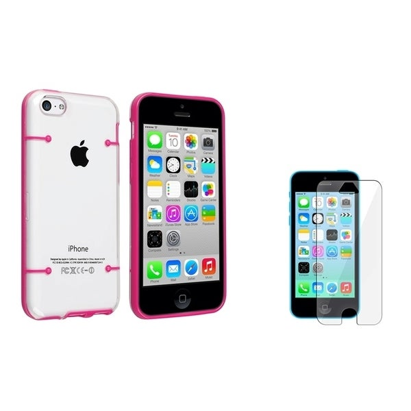 BasAcc Clear with Hot Pink Case/ LCD Protector for Apple iPhone 5C