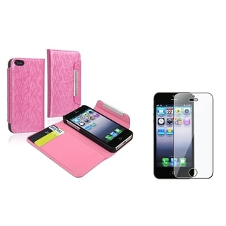 BasAcc Light Pink Holster Case/ LCD Protector for Apple iPhone 5/ 5S