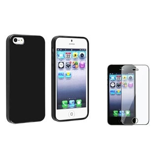 INSTEN Black Jelly TPU Phone Case Cover/ Screen Protector for Apple iPhone 5/ 5S