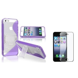 BasAcc Purple Case with Stand/ LCD Protector for Apple iPhone 5/ 5S