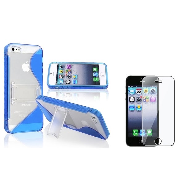 INSTEN Blue Phone Case Cover with Stand/ LCD Protector for Apple iPhone 5/ 5S