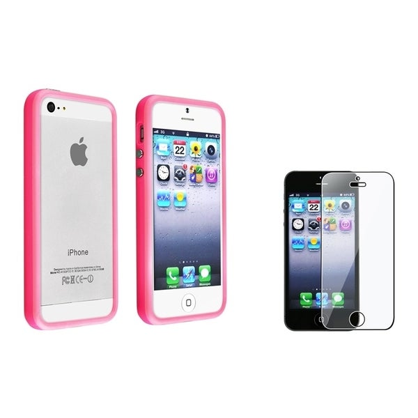 INSTEN Hot Pink Bumper Phone Case Cover/ Screen Protector for Apple iPhone 5/ 5S