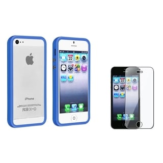 BasAcc Dark Blue Bumper Case/ Screen Protector for Apple iPhone 5/ 5S