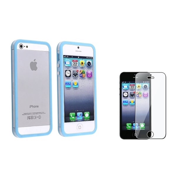 INSTEN Clear/ Sky Blue Phone Case Cover/ LCD Protector for Apple iPhone 5/ 5S