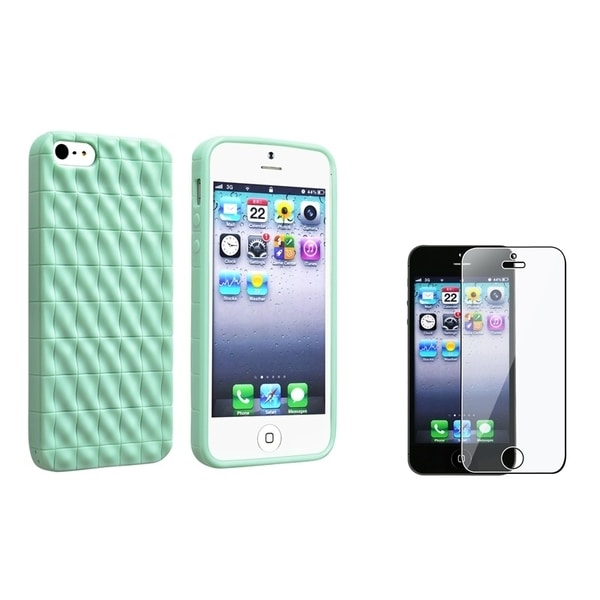 INSTEN Mint Green Diamante Phone Case Cover/ LCD Protector for Apple iPhone 5/ 5S