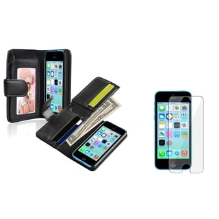 INSTEN Black Leather Wallet Phone Case Cover/ Screen Protector for Apple iPhone 5C