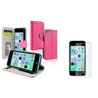 INSTEN Hot Pink Wallet Phone Case Cover/ LCD Protector for Apple iPhone 5C