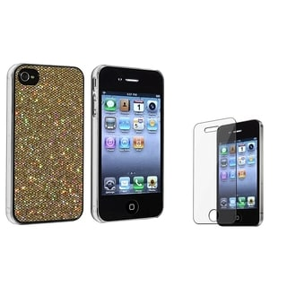 BasAcc Gold Glitter Case/ Screen Protector for Apple iPhone 4/ 4S