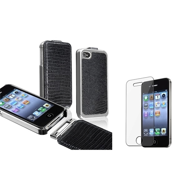 BasAcc Black Leather Case/ Screen Protector for Apple iPhone 4/ 4S