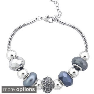 Icz Stonez Silvertone Crystal And Glass Bead Bracelet