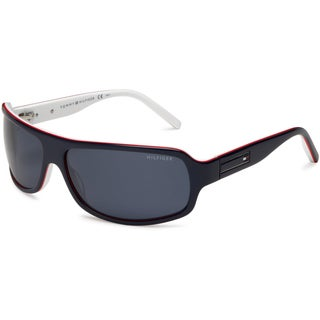 Tommy Hilfiger Men's 1007-S Wrap Sunglasses (Blue, Red) with Case