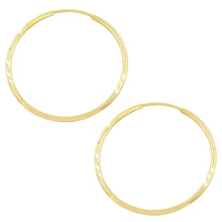 Fremada 10k Yellow Gold Diamond-cut Endless Hoop Earrings (1.2x30 mm)